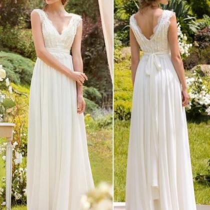 Bridal Wedding Dress V-Neck Floor L..