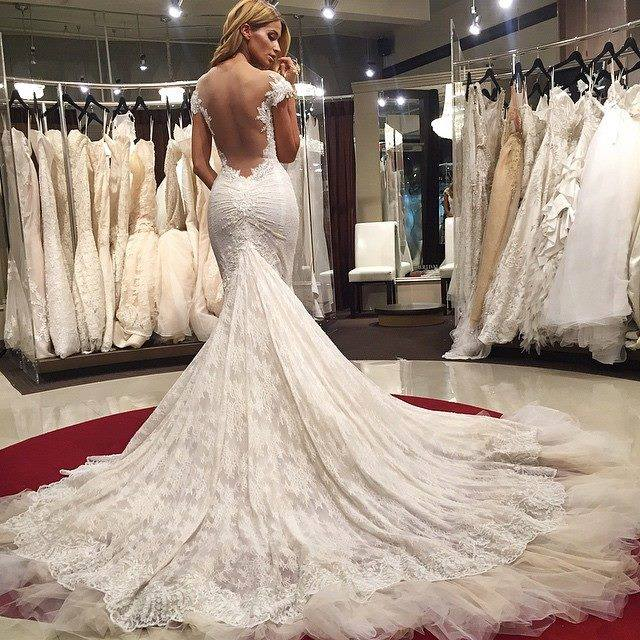 Sexy Mermaid Lace Backless Wedding Dresses 2018 Cap Sleeves Appliques Bridal Gowns