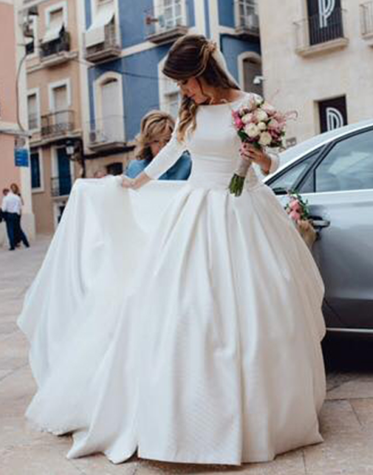 Nude Back Long Sleeves Satin Ball Gown Wedding Dresses with Pockets