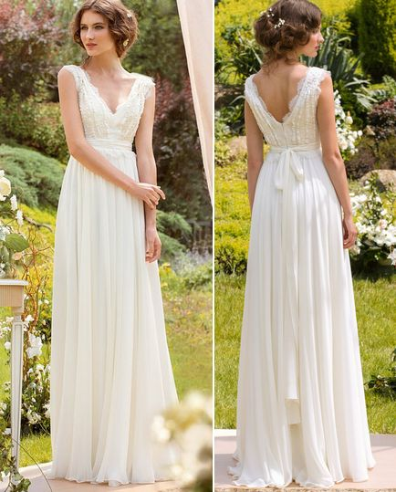 Bridal Wedding Dress V-Neck Floor Length Cap Sleeves with Applique Lace Beaded Sash Ivory Long Chiffon Dress,Wedding Dress,Beach Wedding Dress