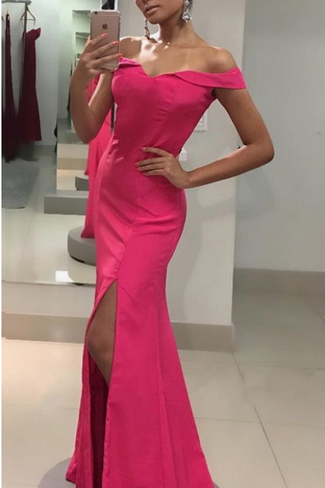 Off Shoulder Mermaid Prom Dress, Sexy Split Slit Prom Dresses, Simple Long Evening Dress