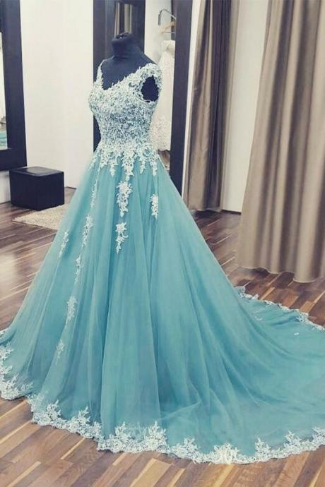 Appliques Tulle Prom Dress, Sexy Sleeveless Prom Dresses, Long Ball Gowns, Formal Evening Dress