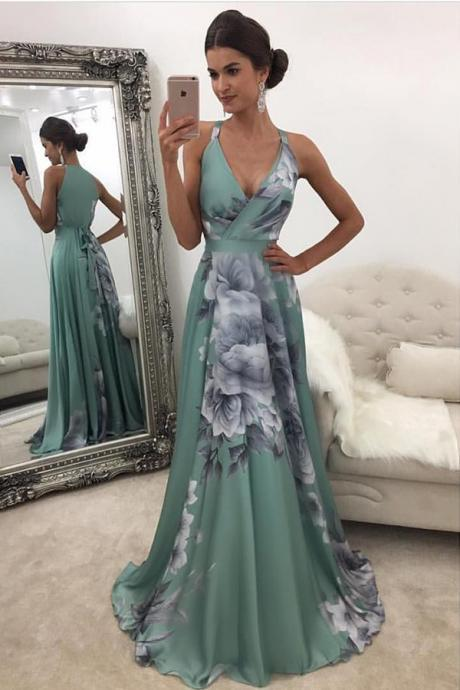 A-Line V-Neck Side-Zipper Flower Print Green Stretch Satin Prom Dress
