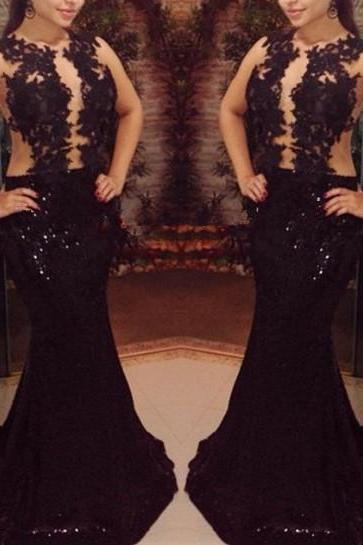 Pretty Black Long Sequins Prom Gown with Lace Appliques, Black Prom Gowns, Black Formal Gowns, Evening Dresses