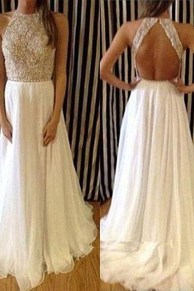 Long Prom Dress, Chiffon A Line Evening Dress,Sleeveless Halter Party Dresses,Evening Gowns