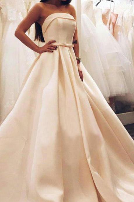 New Arrival Prom Dress Evening Dress,Sexy Prom Dress,A line Formal Prom Dress,Long Satin Prom Dress 2016,Strapless Floor-length Prom Dress,Party Dress,Graduation Dress
