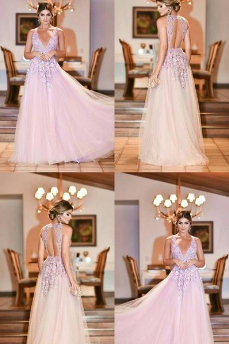Sexy V neck Prom Dress, Pink Long Party Dress, Tulle Evening Dress