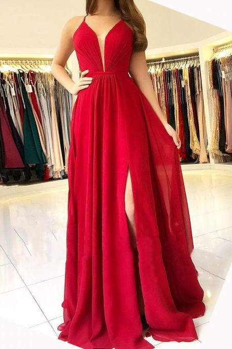 Red V-Neck Chiffon Backless Prom Dress,Long A-Line Bridesmaid Dress with Split