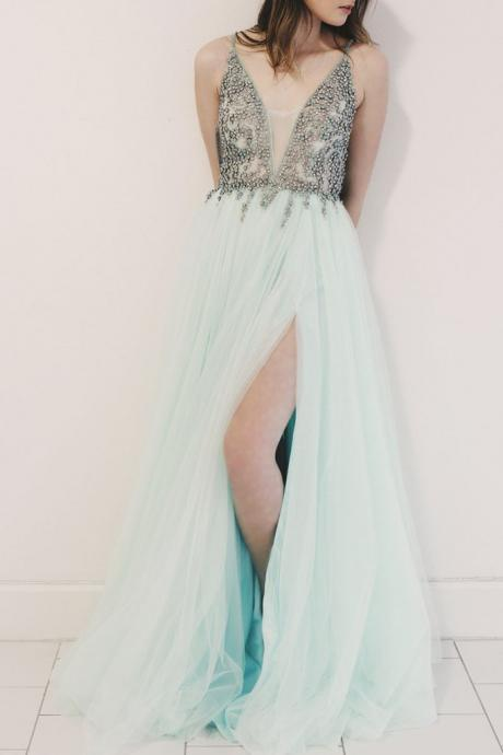 Spaghetti Straps V-Neck Beaded Long Prom Dress,A-Line Green Evening Dress