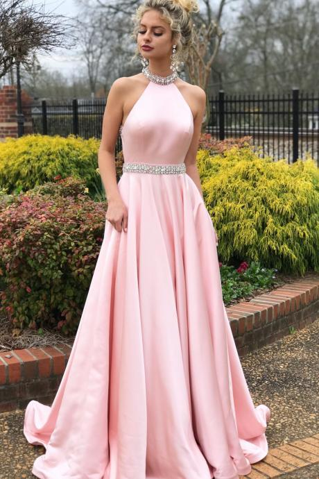 Charming High Neck Pink Beaded Long Prom Dress,Open Back Evening Dresses