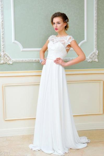 Cap Sleeves Wedding Dress with Illusion Back