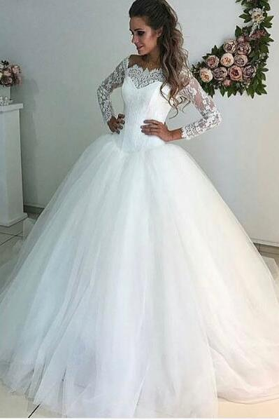 Cheap wedding dresses 2018,New Arrival Elegant Ball Gown Latest Wedding Dresses Appliques Lace Puffy Tulle Bridal Gowns