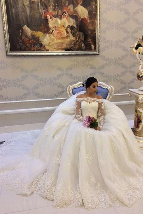 2018 Off Shoulder Wedding Dress , Long Sleeves Ball Gowns , Lace Up Back , Court Train Bridal Gowns ,Bride Dresses , New Design