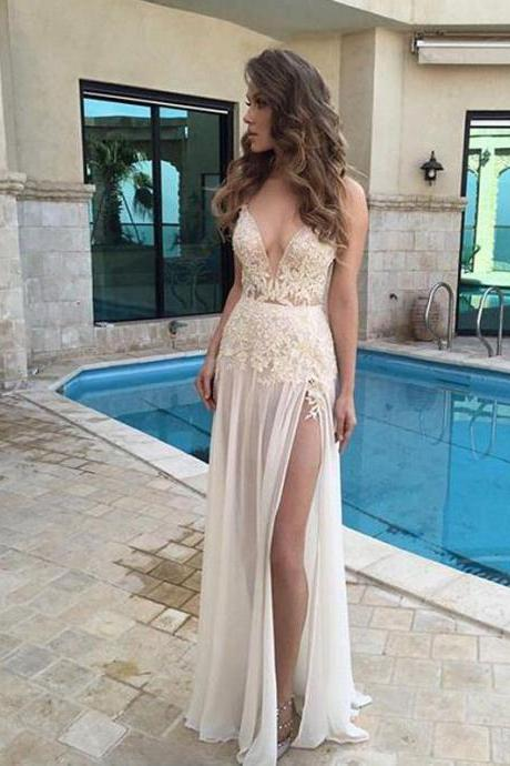 Lace Appliques Plunge V Sleeveless Floor Length Chiffon Wedding Dress Featuring Slit