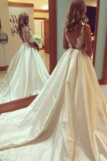 Wedding Dresses,See-through Wedding Gown,Princess Wedding Dresses With V-back,Beautiful Wedding Dress,Long Bridal Dress,Sexy Wedding Gown