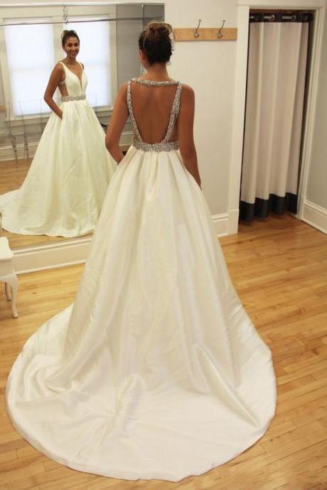 Sexy Open Back Wedding Dress,V-neckline Bridal Dress,Fashion Beaded Wedding Gown,Off White Wedding Dresses,Top Beading Satin Wedding Dress,Long Satin Wedding Dress,Simple Elegant Wedding Dress