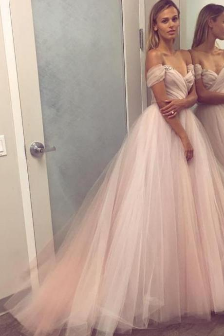 Off-Shoulder Ruched Tulle Couture Wedding Dress Bridal Ball Gowns,Off the Shoulder Long Tulle Wedding Dress,A Line Long Tulle Wedding Gown