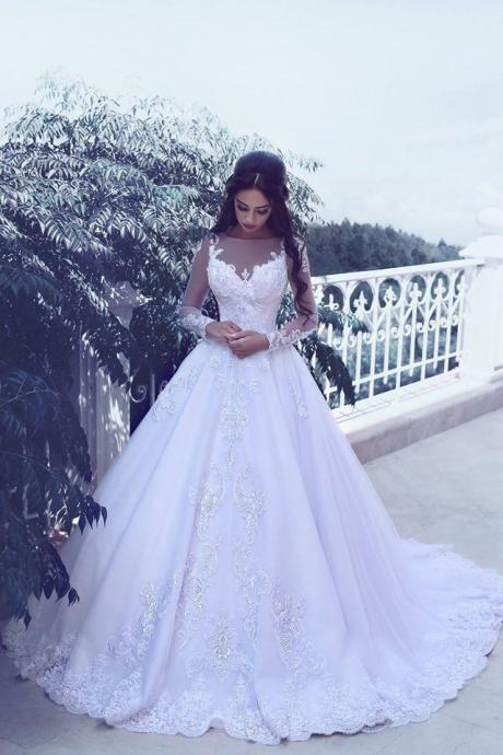 Said Mhamad 2018 Long Sleeves Wedding Dress Ball Gown Bridal Dresses with Lace Appliques Vintage Wedding Gowns New Design Top Quality