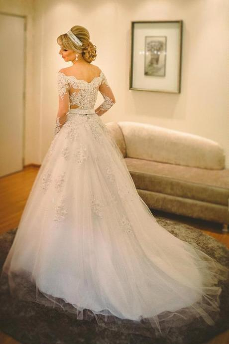 Charming Wedding Dress,Long Sleeve Wedding Dresses,Appliques Beaded Tulle Wedding Gown,Long Bridal Dresses