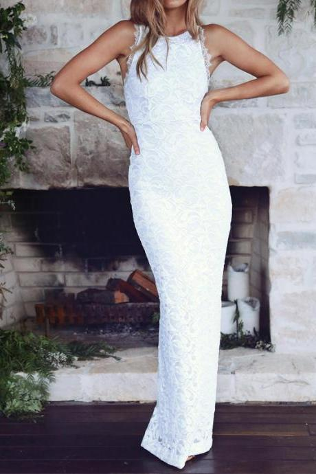 Lace Crew Neck Sleeveless Floor Length Trumpet Wedding Dress Featuring Open Back and Slit