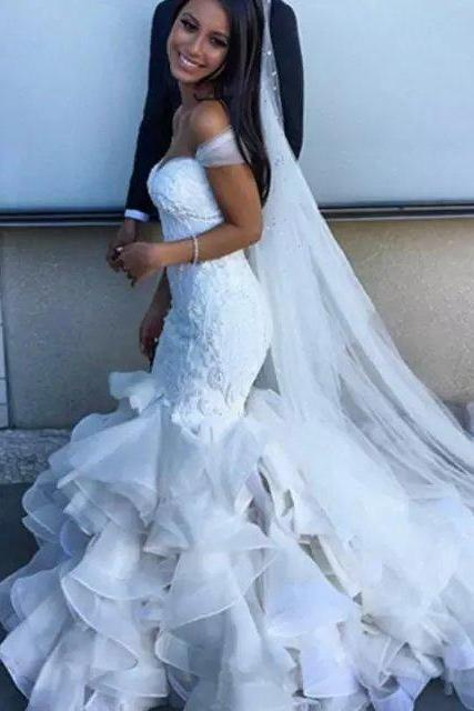 Sexy Mermaid Wedding Dress,Sexy mermaid sheath wedding dresses, sweetheart style of bride dress, lace Lace-up wedding dress custom,Shining Wedding Dresses,Bridal Dress