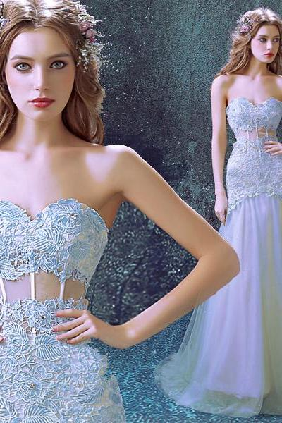 Royal Blue Lace Bridal Wedding Dress,Strapless Wedding Dresses,New Long Section Fishtail Style Wedding Dresses,Sweetheart Pageant Wedding Dresses