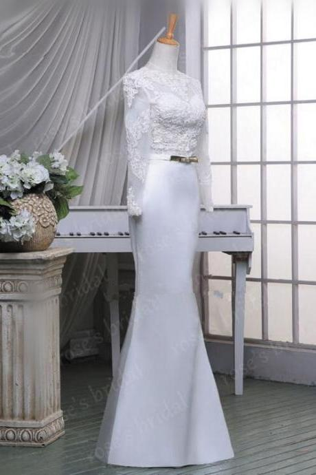 High Quality Fashion Long Sleeve Lace Mermaid White/Ivory Wedding Dress Elegant Satin Bridal Gowns Bow