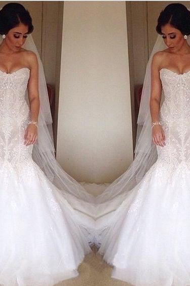 Lace Appliques Sweetheart Floor Length Tulle Mermaid Wedding Dress