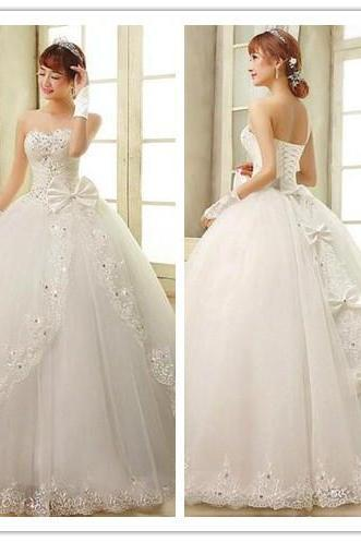 Beaded Embellished Lace Appliqués Sweetheart Floor Length Tulle Wedding Gown Featuring Bow Accent, Lace-Up Back