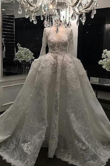 Luxury Wedding Dress, Real Photo Wedding Dress, Wedding Ball Gown, Lace Applique Wedding Dress, Ivory Wedding Dress, Long Sleeve Wedding Dress, Deep V Neck Wedding Dress, Princess Wedding Dress, Crystal Wedding Gown