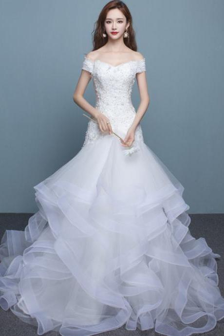 Lace Appliques Off-The-Shoulder Plunge V Floor Length Ruffled Wedding Gown Featuring Lace-Up Back
