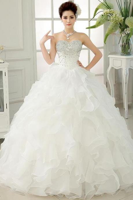 Ball Gown Wedding Dresses,Ruffles Bridal Gowns,Long Organza Wedding Dresses with Crystals Ruffles