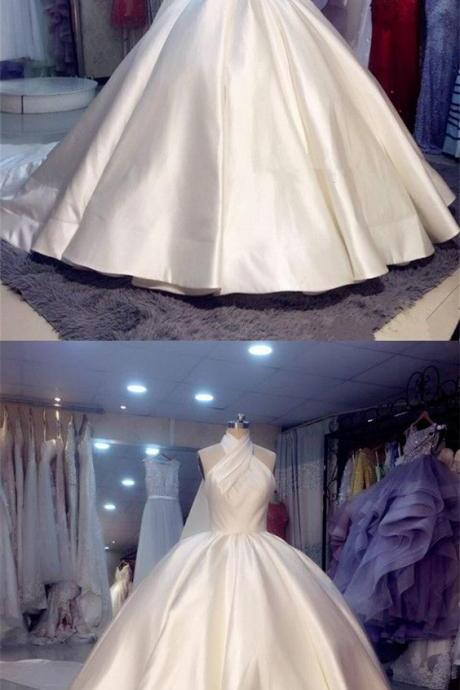 Vintage 1950s Style Satin Ball Gowns Wedding Dresses Halter Top