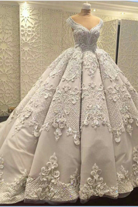 Gorgeous Wedding Ball Gown Prom Dresses,Elegant Prom Gowns ,Applique Evening Dresses,Fashion Prom Dress