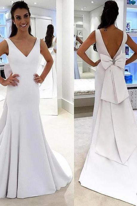White V-Neck Sleeveless Mermaid Wedding Dress, Formal Dress Featuring V-Back and Oversized Bow Accent