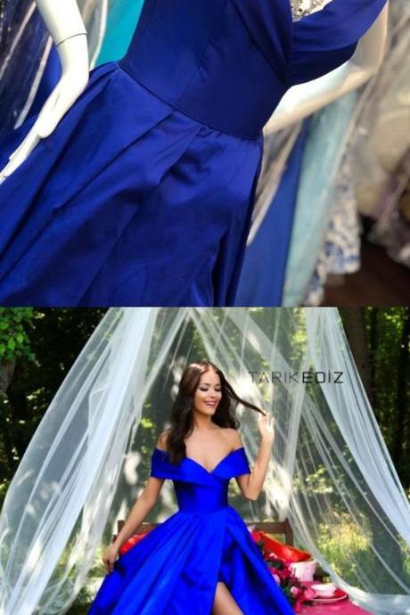 elegant off the shoulder royal blue long prom dress with side slit, 2018 prom dress party dress
