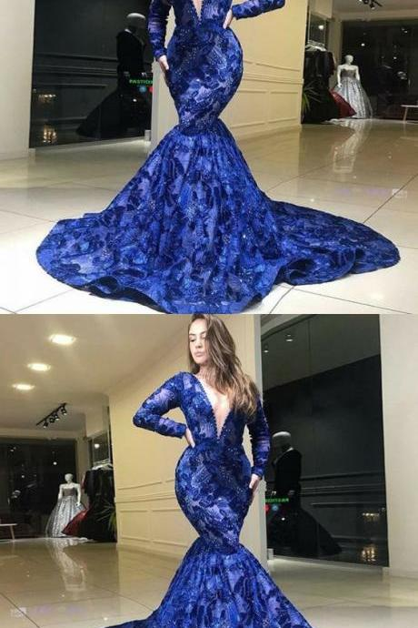 modest royal blue deep v neck prom dresses with sleeves, unique long sleeves mermaid party dresses, elegant plunging lace evening gowns