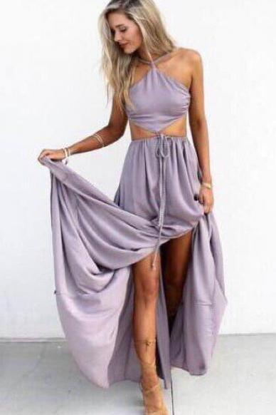 Halter Maxi Chiffon Prom Dress, Long Party Dress With Cut Out Waist , Open Back Prom Dress