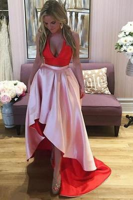 Sexy High Low Prom Dress, Deep V Neck Prom Gown, Sleeveless Evening Dress