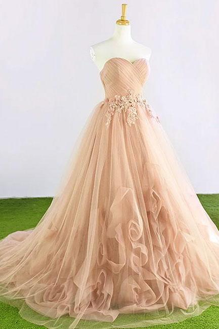 Sweet A-Line Sweetheart Pink Tulle Long Prom/Evening Dress with Appliques