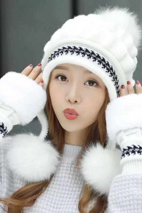 Ear care knitted sweater hat children's winter fashion trend Korean version of hot and dry gloves, Korean winter Baotou