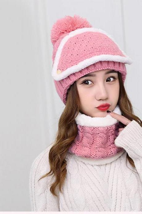 Wool hat, women's winter plus velvet, thickened Korean version, tide riding, Korean winter cycling, lovely Knitted Winter Hat.