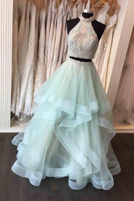Beaded mint tulle two pieces prom dress, formal dress, cute halter dress for prom ,Evening Dress, Prom Gowns, Formal Women Dress,prom dress