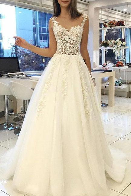 White Lace Sweetheart Long Prom Dresses,Straps Evening Dress,Tulle Long Evening Gowns,Evening Dresses,Long Prom Dresses, Formal Evening Gown