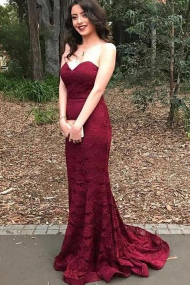 Stylish Sweetheart Mermaid Sweep Train Burgundy Lace Prom Dress,Elegant Prom Dress,Prom Gowns,Long Porm Dress,Party Dress,Formal Dress For Prom ,Prom Eveing Dress