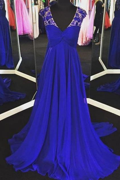 Blue Appliques V-Neck Sweep Train A-line Chiffon Prom Dresses 2018