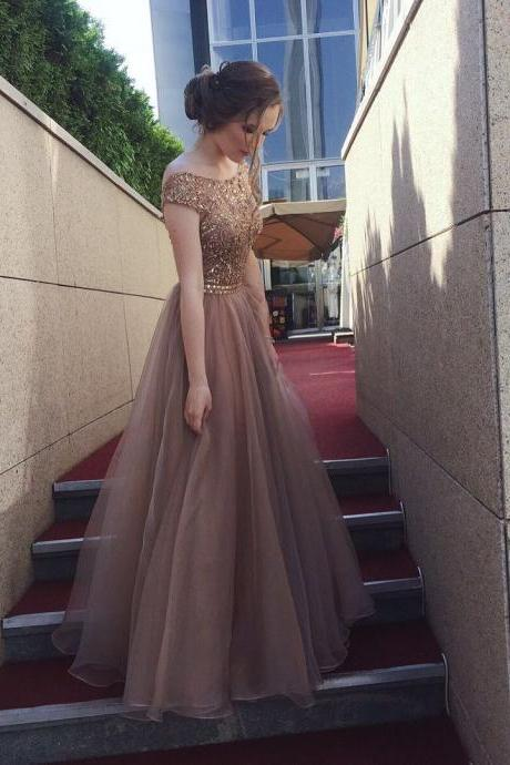 A-Line Bateau Cap Sleeves Backless Floor-Length Brown Prom Dress with Beading