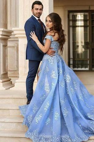 Blue Organza Prom Dress,Evening Gowns Women Engagement Dress With Lace Applique Sexy High Slit Prom Dress Robe De Soiree Longue Dubai Gowns