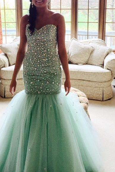 Prom Dresses Sexy Luxury Sparkle Green Cheap Beads Crystal Prom Dress Formal Dress Evening Dress Party Prom Gowns
