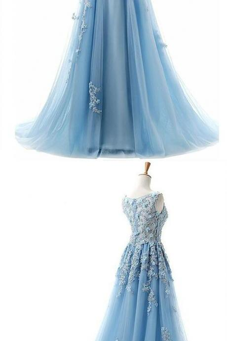 A-Line Blue Tulle Prom Dress with Appliques, Long Formal Dress for Teens